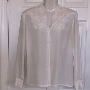 Beautiful White Embroidered Floral Blouse